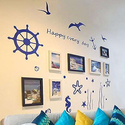 Creative Living Room Schlafzimmer großes Bilderrahmen-Set, 7-tlg. Set, weiß und blau