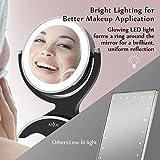 Anjou Kosmetikspiegel Make up Spiegel LED schminkspiegel Beleuchtet mit 7-facher Vergrößerung und Doppelseitiger Vergrößerungsspiegel, 360° Drehbar für Kosmetik und Hautpflege,14LEDs - 6