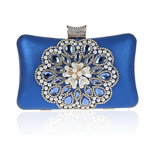 Borsa da donna frizione nuovo modo del vestito da sera di banchetto del sacchetto di diamante fiore in rilievo vestito HASP ( Colore : Silver ) Blu navy