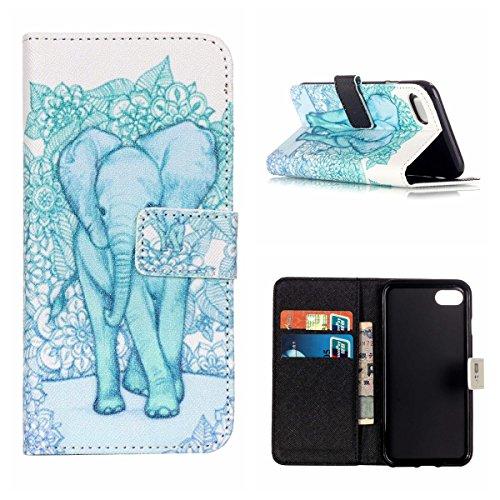 MOONCASE iPhone 7 Coque,[Elephant] Conception de Modèle Étui Housse en Cuir Case à rabat de Portefeuille Crédit Fentes Béquille Fermeture Magnétique pour iPhone 7 4.7 Inch(2016) Elephant