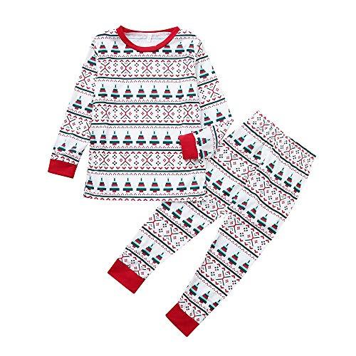 Familie Pyjamas Kinder Jungen Mädchen Kleidung Bekleidungssets Weihnachten Nachtwäsche Santa Print Oberteile Tops +Babymode Hosen Outfits 24M-7Y Felicove