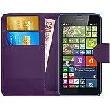 GizzmoHeaven Microsoft Lumia 535 Caja del teléfono de la imitación de cuero tirón de la carpeta Case Cover para Microsoft Lumia 535 con protector de pantalla y el lápiz óptico en miniatura - Violeta