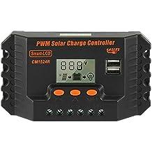 Sourcingmap® Intelligent 15A Régulateur Charge Solaire PWM 12V-24V régulateur  Batterie CM1524R 1cc549f984d0