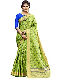 [Sponsored]Shangrila Women's Lime Green Colour Pochampally Woven Silk Saree With Stitched Free Size Blouse