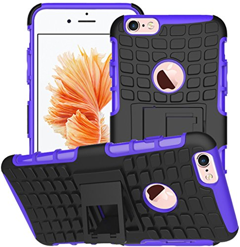 Apple Iphone 6 / 6S Hülle Nnopbeclik Hybrid 2in1 TPU+PC Schutzhülle Cover Case Silikon Rüstung Armor Dual Layer Muster Handytasche Backcover 360-Grad-Drehung ständer stoßfest Handy Hülle Tasche Schutz Schwarz+Lila