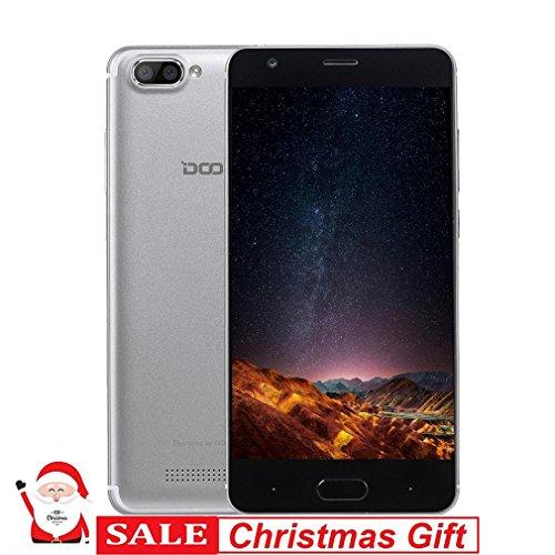 DOOGEE X20 - Smartphone Libre, 3G Smartphone Android 7.0 5.0 Plugada IPS Pantalla MTK6580 1.3GHz Quad Core 2GB RAM 16GB ROM 5.0MP Cámaras Duales Posteriores Sensor 2580mAh -  Plata