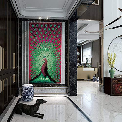 kanhaonio Lackierer Rahmenlos Sechsfarben Tier Pfau Malerei Rahmen Abbildung 038 50cm * 100cm