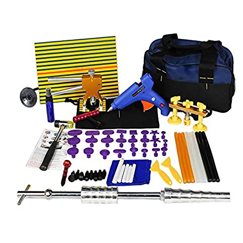 Shitongda 62Pcs PDR Dent Removal Kit Car Dent Puller Auto Paintless Repair Tool Tap Down Slide Hammer Glue Gun Stick Pro Pulling Tabs Kit Line Board With Tool Bag For Car Hail Damage