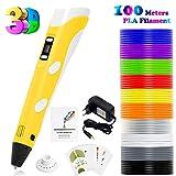 PLUSINNO DIY Scribbler Impresora 3D Pen con Pantalla LCD para 3D Scribbler impresión, Dibujo y Doodling + 13 filamento PLA (10 Colores Diferentes) + 10 Modelos de Papel para práctica UE (Amarillo)