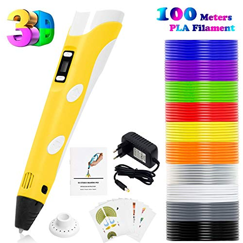 PLUSINNO Scribbler DIY 3D printer LCD Pen for 3D printing Scribbler, Drawing and Doodling + 13 PLA filament (10 Different colors) + 10 Role models for practical EU (Yellow)