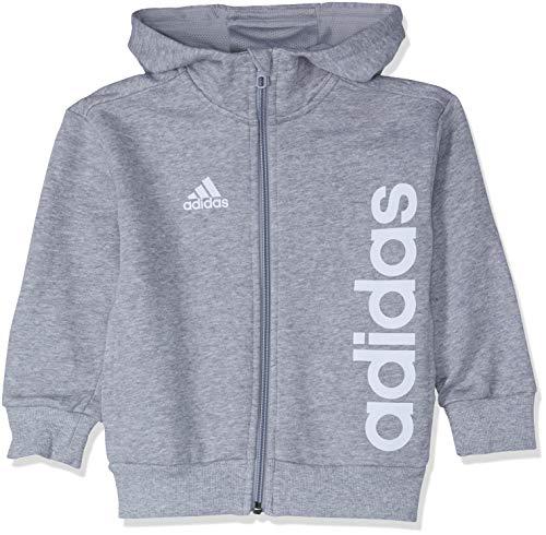 adidas Kinder Linear Full Zip Kapuzen-Jacke, Grau (Grey Heather/White), Gr. 140 -