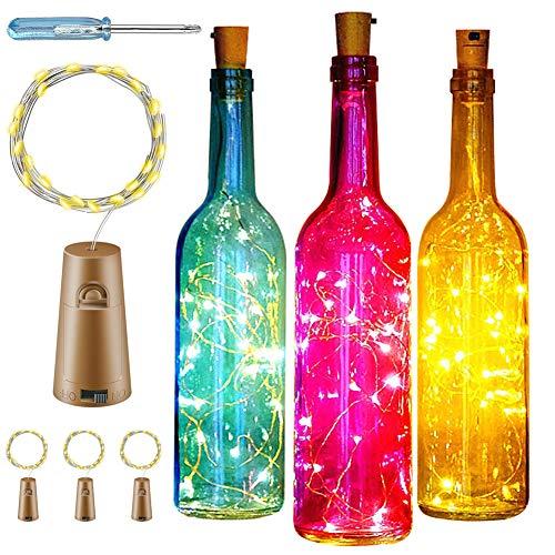 Luces de Botella de Vino,lámpara decorada,DIY Guirnaldas Luces Led Románticas para Boda, Navidad, Fiesta, Hogar, Exterior, Jardín, Terraza, Dormitorio (Blanco cálido)