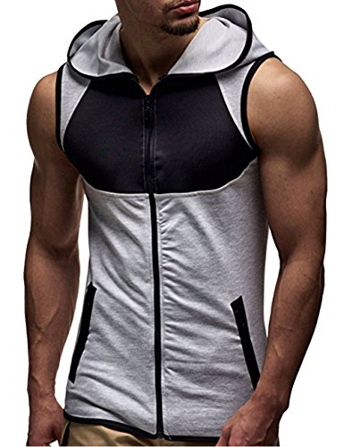 SOMTHRON Herren àrmellose Zip Front Baumwolle Sport Hoodies Aktive Weste Jacke Reißverschluss Athletic Bodybuilder Hoodies Tanks Sportswear Tops, Grau, XL -