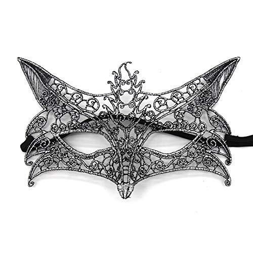 LBAFS Halloween Halbes Gesicht Sexy Augenmaske Mode Antiken Spitze Heißprägen Hohl Fox Maske Für Party,Silver