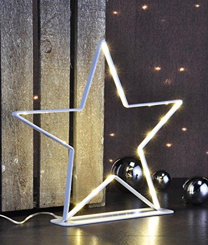 Metall Weihnachtsstern beleuchtet - 30 LED warmweiß - Deko Stern Tischleuchte