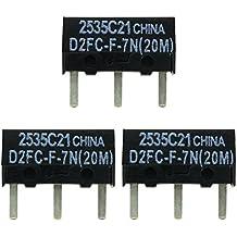 3x OMRON D2FC-F-7N (20M) Kit di Riparazione di Microinterruttori / Kit di Riparazione adatto per mouse per computer di Logitech, Razer, Roccat, SteelSeries e altri