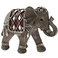 Brown and Silver Decorated Elephant Figurine Ornament Gift Boxed 18cm
