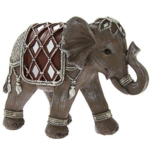 Marrón y Plata adorno de decorada, diseño de elefante en caja de regalo 18cm