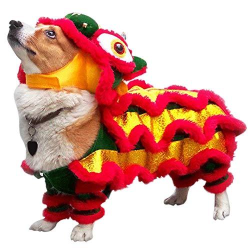 Etophigh Hundekostüme, Drachentanz Löwe Haustier Hundekleidung Drachentanz Hund Festival Rot Glück Cosplay Kostüm