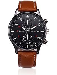 KanLin1986 reloj de pulsera retro, reloj de cuarzo de los hombres con banda de cuero (marrón)