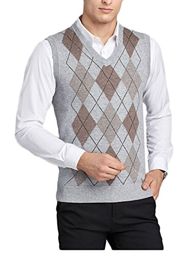 d031673d07b12b Men s V-Neck Argyle Pattern Sweater Business Vest Cardigan Knitted ...