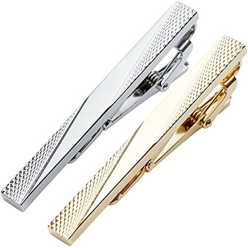 Zysta ein paar Herren Krawattennadel Krwattenklammer Set hochwetigen Geschenk Silber Gold aus Edelstahl (Stil 2)