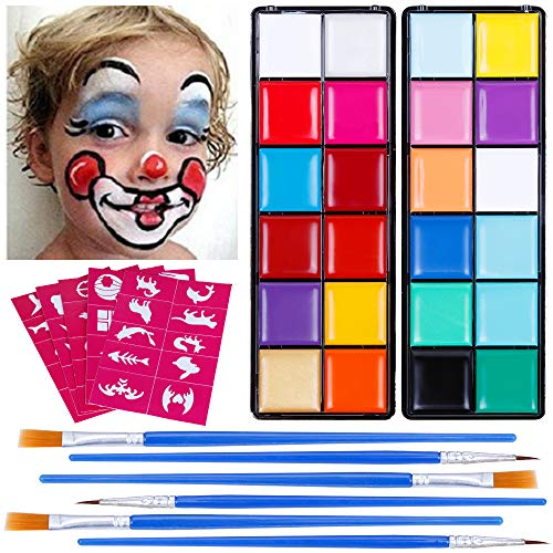 Lictin Face Paint for Kids - Facial Painting Kit Cosmetic Sets Face Body Paint Festival Face Paint Kit Makeup Paint Non-Toxic to Use Halloween DIY