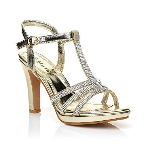 JADE Champagne Gold Diamante Encrusted PU Leather High Heel Platform T-Bar Sandals Size UK 7 EU 40