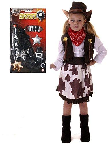Cowboy-Kostüm für Mädchen, 7-teiliges Set-Alter 3-12 (Mädchen Kostüme Cowboy)
