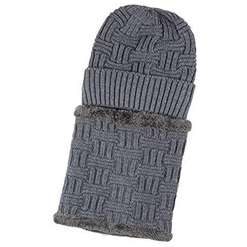 FENGLINZEKANG Winter Beanie Mütze Schal Set Warm Cap Neck Dickes Fleece gefüttert Wintermütze (Color : Medium gray, Größe : M) -