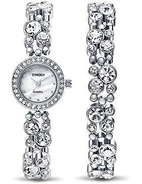 TIME100 Damen Armkette Armband Armbanduhr Diamant Runde Analog Quarz #W50120L.01A
