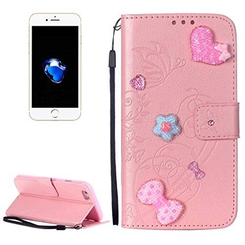Für iPhone 7 Herz Diamant verkrustete Blumen prägen horizontalen Flip Ledertasche mit Halter & Card Slots & Wallet & Lanyard für iPhone 7 by diebelleu ( Color : Red ) Pink