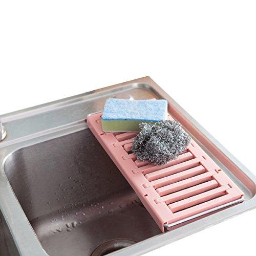 Escurreplatos sobre el fregadero multifunción ajustable 2métodos de uso rosa