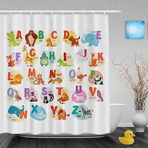 """Lindo 26divertido Educativo letras del alfabeto niños cortinas de ducha baño infantil cortina de ducha impermeable moho tela de poliéster 60""""x72)"""