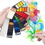 Scriptract Caja de Acuarelas Sólidas Profesional 42 Pigmentos de Pintura Portátil para Viaje con Pincel