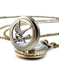 YESURPRISE Taschenuhr im Vintage Hunger Games Kette Halskette-Bronze