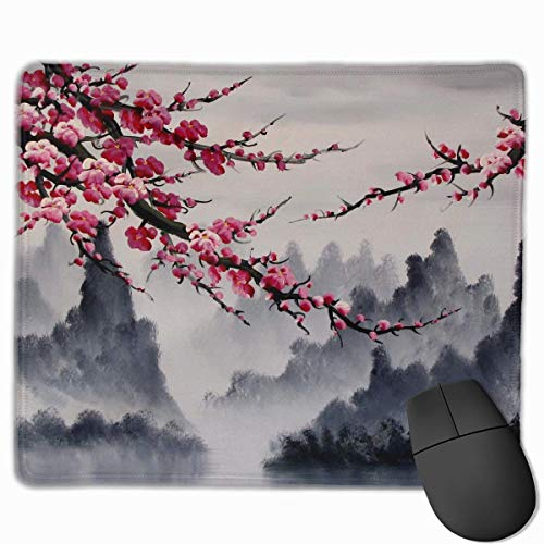Mountain Red Plum Non-Slip Rubber Mouse Mat Mouse Pad for Desktops, Computer, PC and Laptops 9.8 X 11.8 inch (25x30cm) -