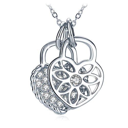 Kette Damen, GUNDULA Halskette Doppelter Liebesschloss Anhänger Zirkonia 925er Sterling Silber Geburtstag Geschenk für Frauen Mädchen Mutter Freundin Tochter