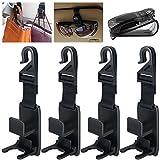 YuCool 4Stück Auto Kopfstütze Haken, Universal KFZ Front Back-Aufhänger, Organizer für Taschen, Geldbeutel, Lebensmittel-Tasche und Flaschenhalter, Schwarz