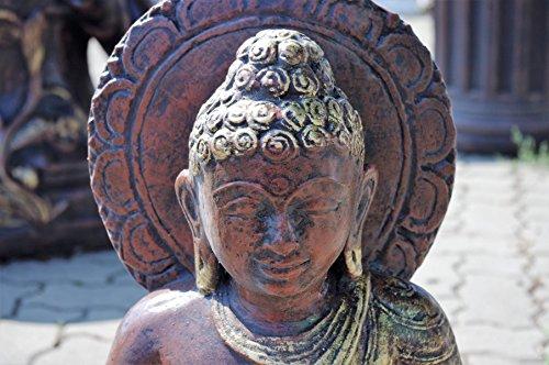 Antikes Wohndesign 2 xSitzender Thai Buddha Gottheit Statue Gartenfigur Feng Shui Bronze Optik Höhe: 55cm
