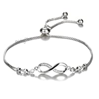 Shining Diva Fashion Silver Plated and Cubic Zirconia Bracelet for Women & Girls