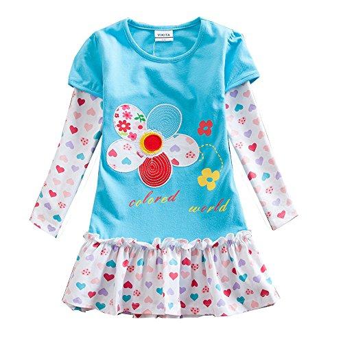 VIKITA Mädchen Bunt Print Stickerei Langarm Baumwolle Freizeit Kleid F5061Blau 5T