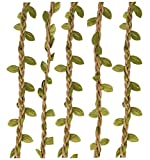 Amkun 66Ft Artificial Vine Fake Foliage Leaf Silk Ivy Plant Garland Rustic Jungle Vines Home Wedding Wall Décor Party Decorations (Green)