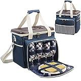 HappyPicnic gefüllter Picknick-Kühler/Korb für 4 Personen mit komplettem Geschirr-Set, geräumiges Kühlfach, Premium Picknick-Set mit hartem Eva-Form-Deckel als Picknicktisch Navy Blue for 4P MEHRWEG