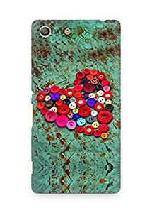 Amez designer printed 3d premium high quality back case cover for Sony Xperia M5 (Red heart colorful buttons)