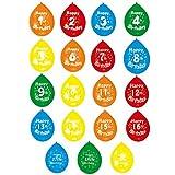 Amscan Party-Luftballons mit Aufschrift Happy Birthday und Zahl (1-19), bunt, 10 Stück (18th Birthday) (Bunt)