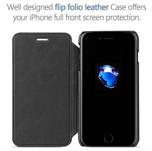Coque pour iPhone 7 TSCASE Rouge (Etui Range Carte) de Protection Détachable Coque pour iPhone 7 4.7 pouces Noir