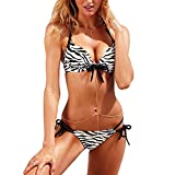 DELEY Frauen Mode Push Up Gepolsterter BH Bikini Set Badeanzug Beachwear Zebra Größe S