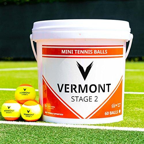 Vermont Balles de Tennis   Seau de Balles Homologués par la ITF pour Mini Tennis/Entraînement (pour Toutes Les Surfaces) (Niveau 2 - Orange)