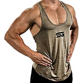 Satire Gym Fitness Stringer Herren - Funktionelle Sport Bekleidung - Geeignet Für Workout, Training - Tank Top (Khaki meliert, M)